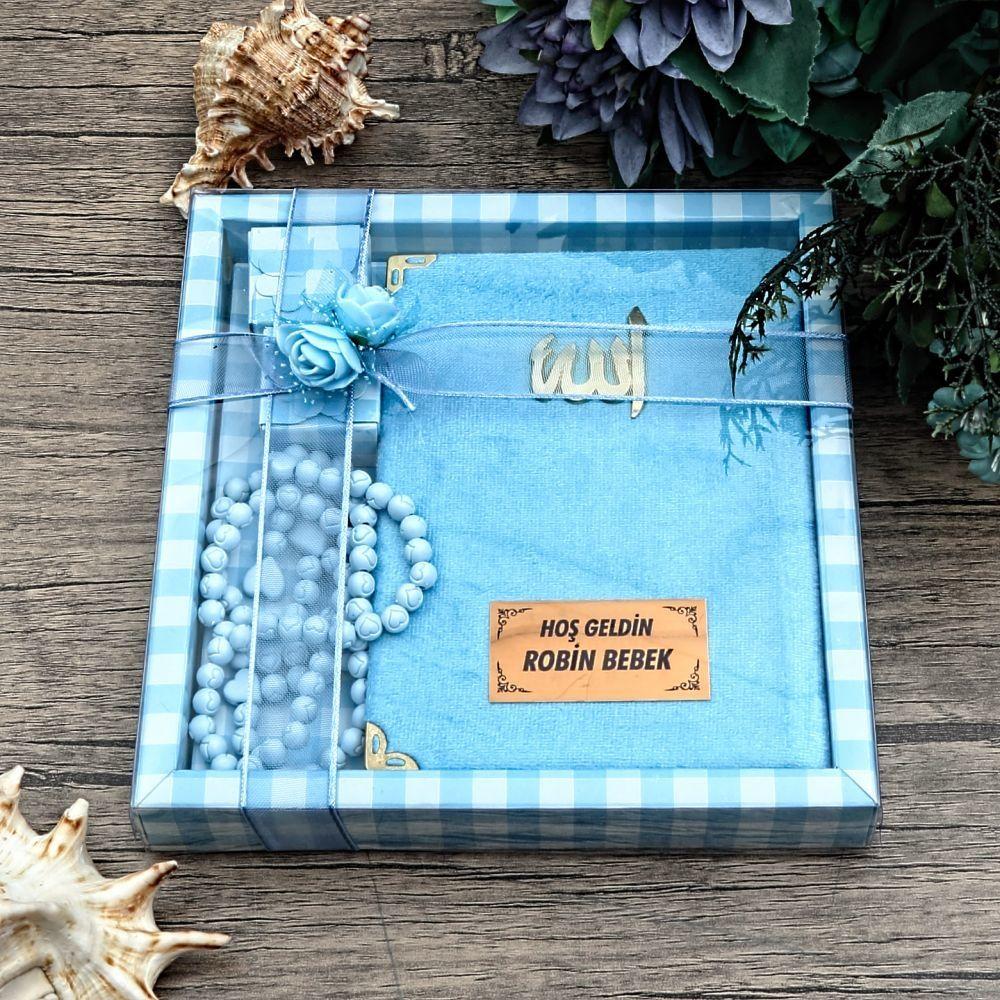 Çanta Boy Kadife Kaplı Yasin Kitabı, Kokulu Tesbih, Asetat Kutulu Mevlid Paketi 204