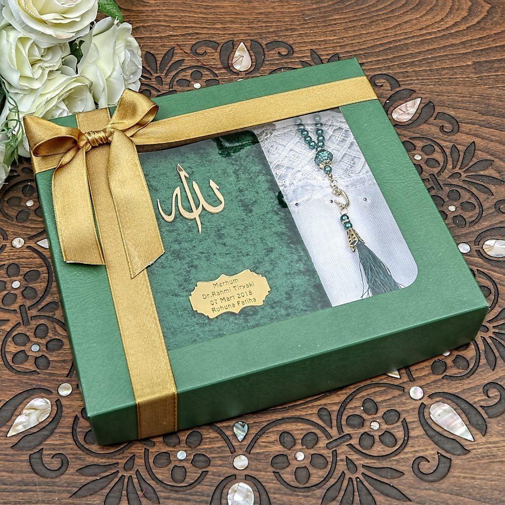 Kadife Kaplı Yasin Kitabı, İnci Tesbih, Mevlüt Şalı Kraft Kutulu Mevlüt Paketi Renk Seçenekli
