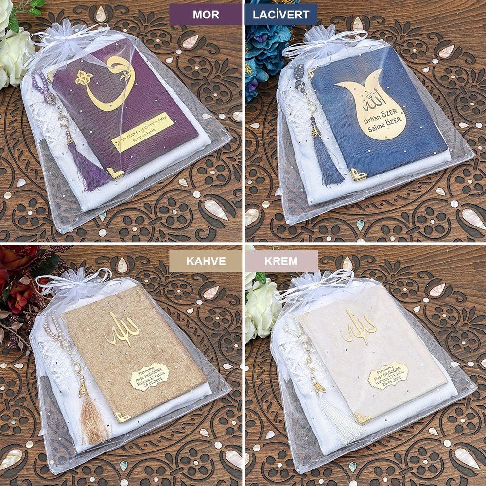 Kadife Yasin Cüzü Çanta Boy - İnci Tesbih - Şal - Tül Kese Renk Seçenekli Mevlid Paketi