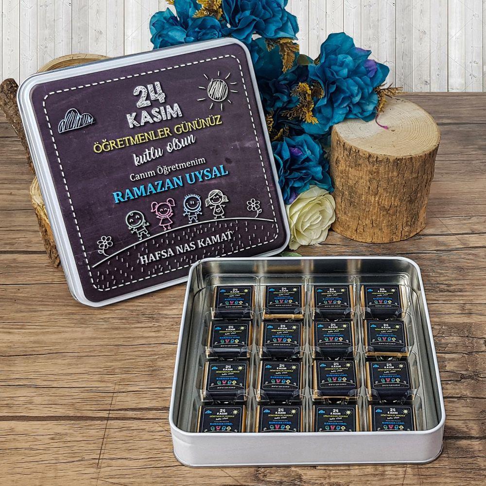 <span>Öğretmenler Günü Çikolatası Metal Kutuda 32 Adet Madlen Çikolata</span>
