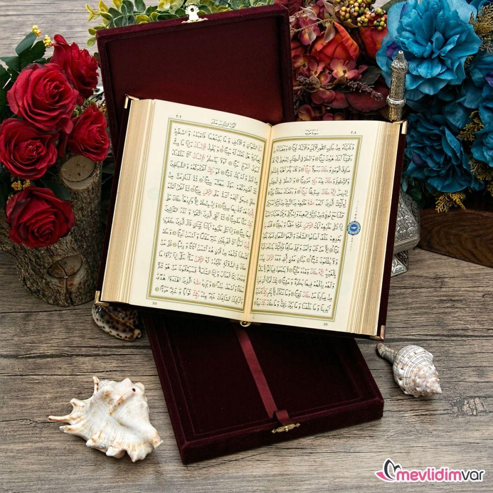 <span>Kişiye Özel İslami Hediye Kadife Kutulu K.Kerim Hafız Boy Renk Seçenekli - HR</span>