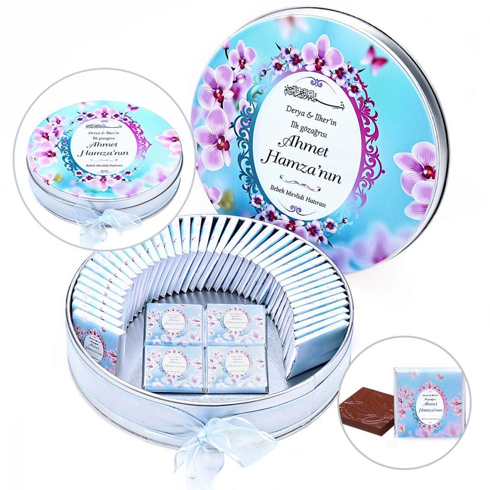 <span>Bebek Çikolatası  Baskılı Metal Yuvarlak Kutu 50 li - Kardelen Mavi</span>