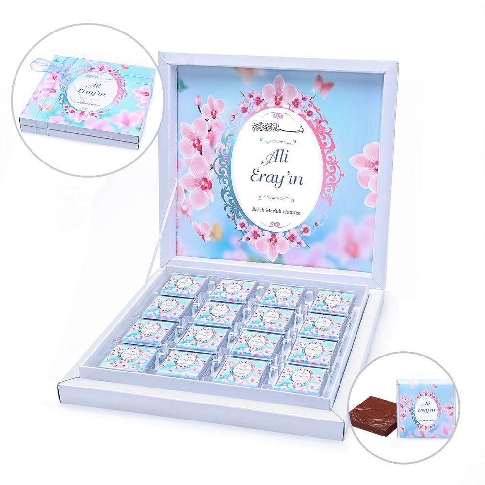<span>Bebek Çikolatası Karton Kutu 50 li - Kardelen Mavi</span>