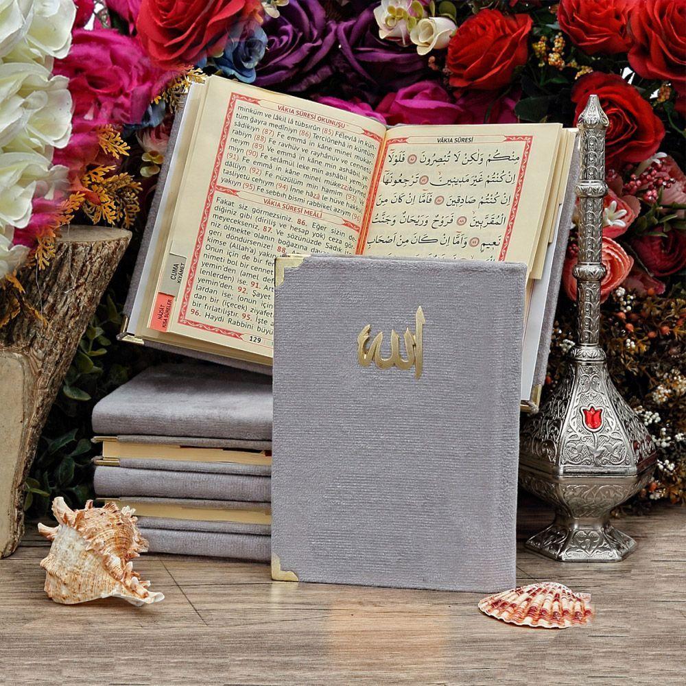 <span>Çanta Boy 128 Sayfa Kadife Kaplı Yasin-i Şerif Cüzü Allah Lafızlı Koyu Gri</span>