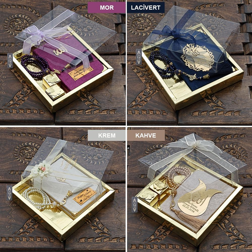 <span>Çanta Boy Kadife Kaplı Yasin, İnci Tesbih, Lokum,Gold Asetat Kutulu Mevlid Paketi Renk Seçenekli</span>