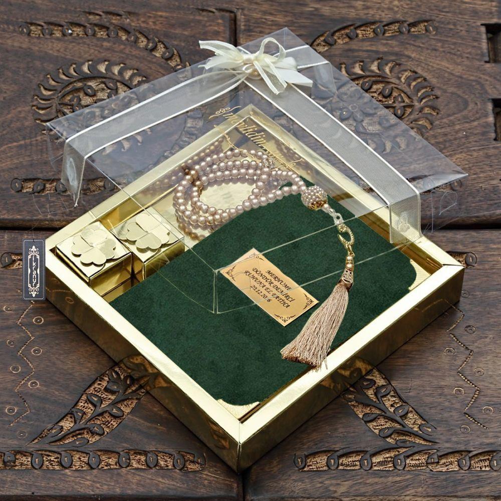 Çanta Boy Kadife Kaplı Yasin, İnci Tesbih, Lokum,Gold Asetat Kutulu Mevlid Paketi Renk Seçenekli