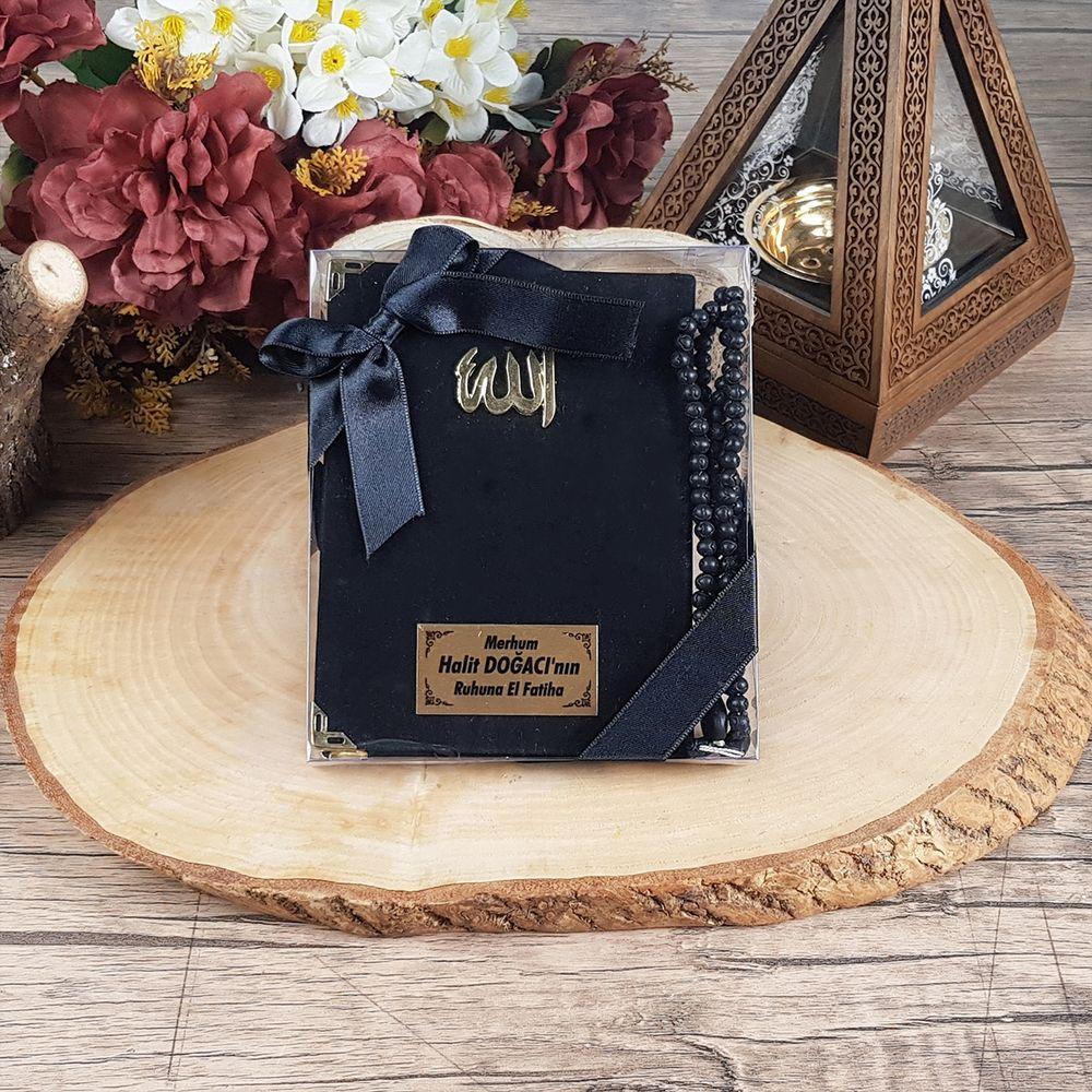 Çanta Boy Kadife Yasin, Kokulu Tesbih, Kurdelalı Asetat Kutulu Mevlit Paketi 516