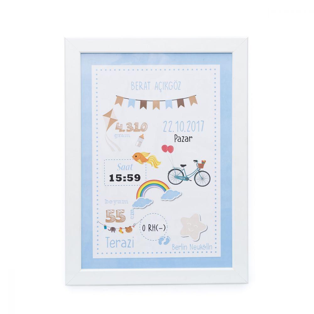 <span>Erkek Bebek Doğum Panosu Mavi</span>