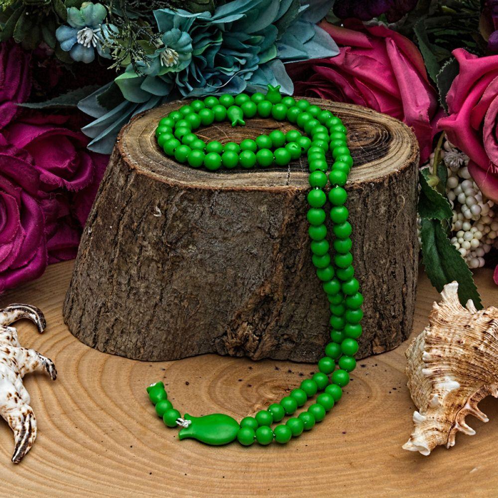 <span>Gül Kutulu Lale İşlemeli Tesbih Yeşil</span>