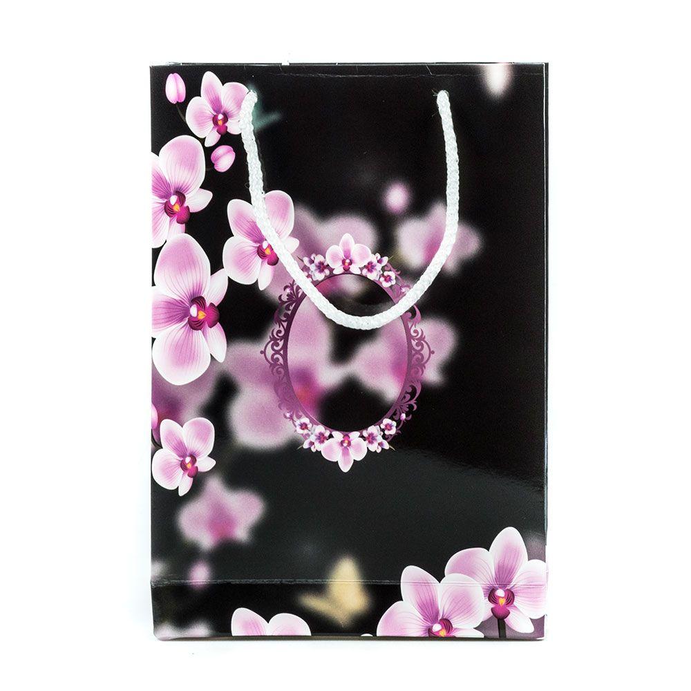 Hediye Çantası Siyah Orkide - Orta Boy