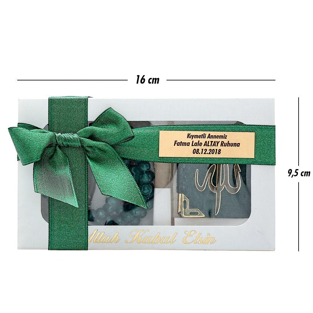<span>Hediyelik Yatay Kutu Mini Kuran Kokulu Tesbihli Set Yeşil</span>