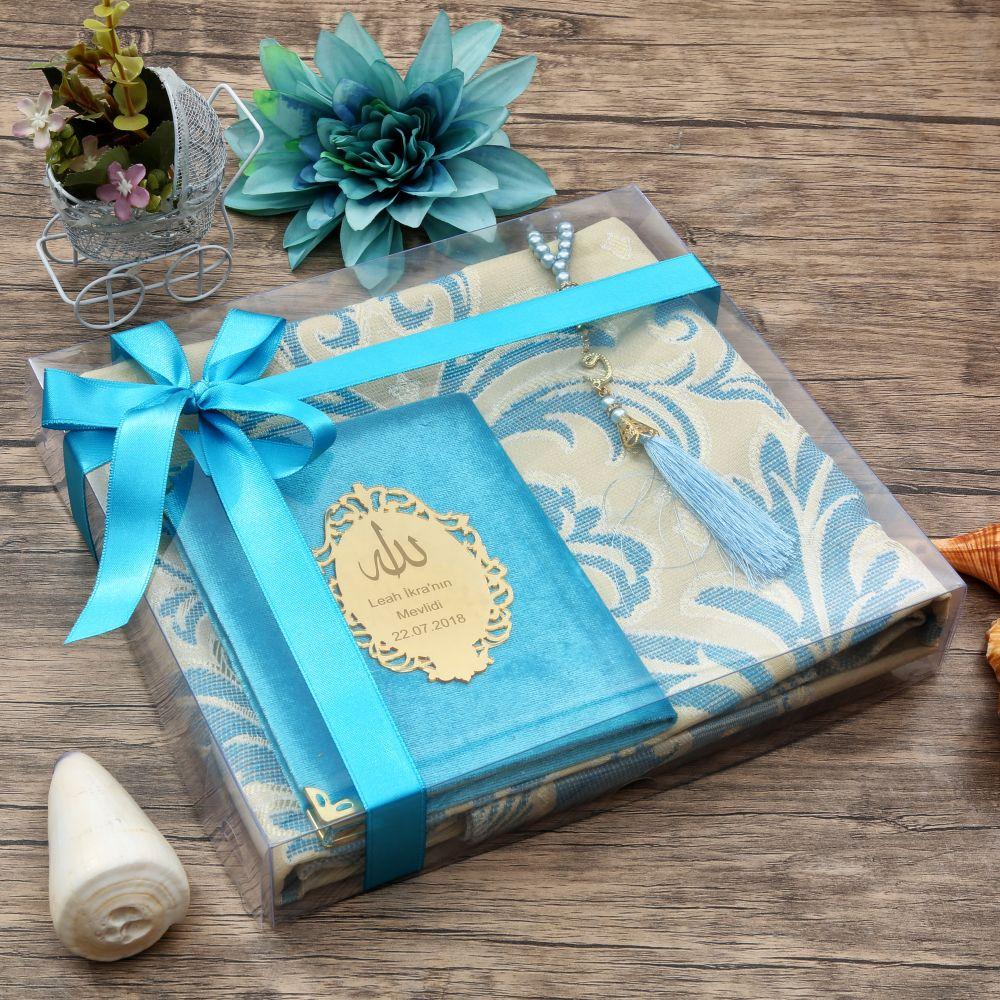 <span>Hediyelik Seccade Yasin Kitabı, İnci Tesbih- Mavi</span>