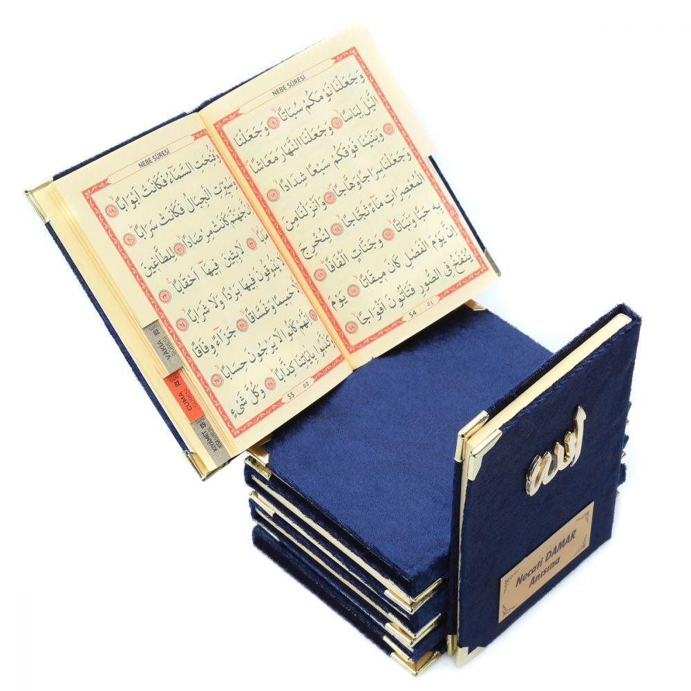 <span>Kadife Kaplı Yasin Kitabı 128 Sayfa Allah Lafızlı, İsim Baskılı Cep Boy Lacivert</span>