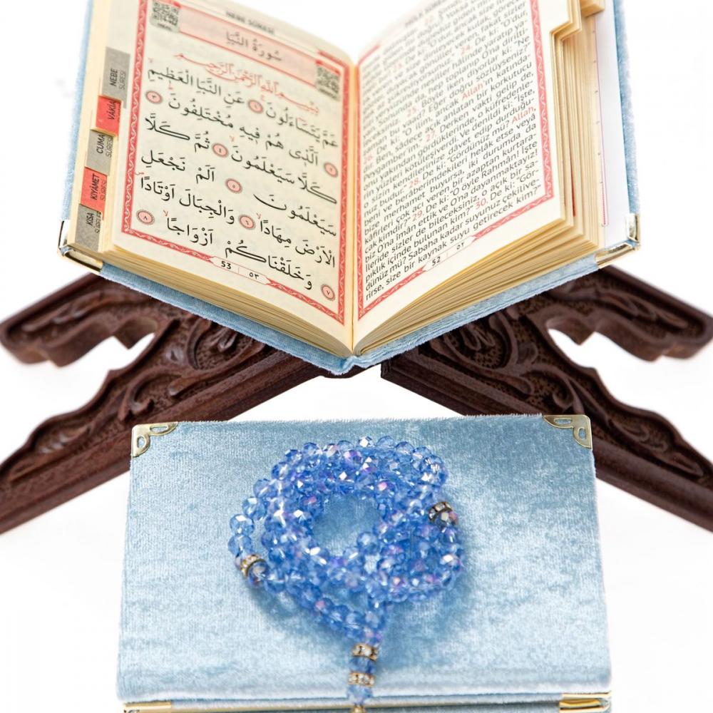 Kadife Kaplı Yasin Kitabı 128 Sayfa Cep Boy Mavi