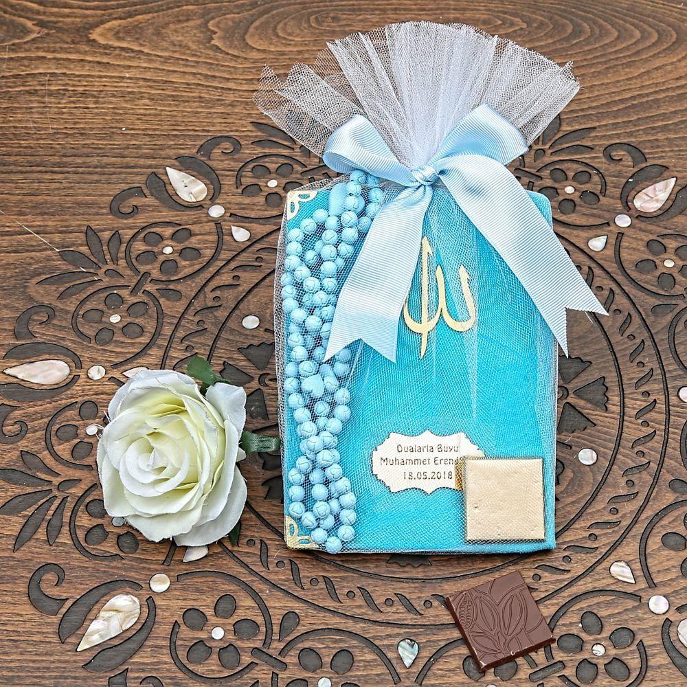 <span>Kadife Yasin Kitabı Çanta Boy, Kokulu Tesbih, Pelit Madlen Çikolata, Tülle Süslenmiş Mevlüt Paketi</span>