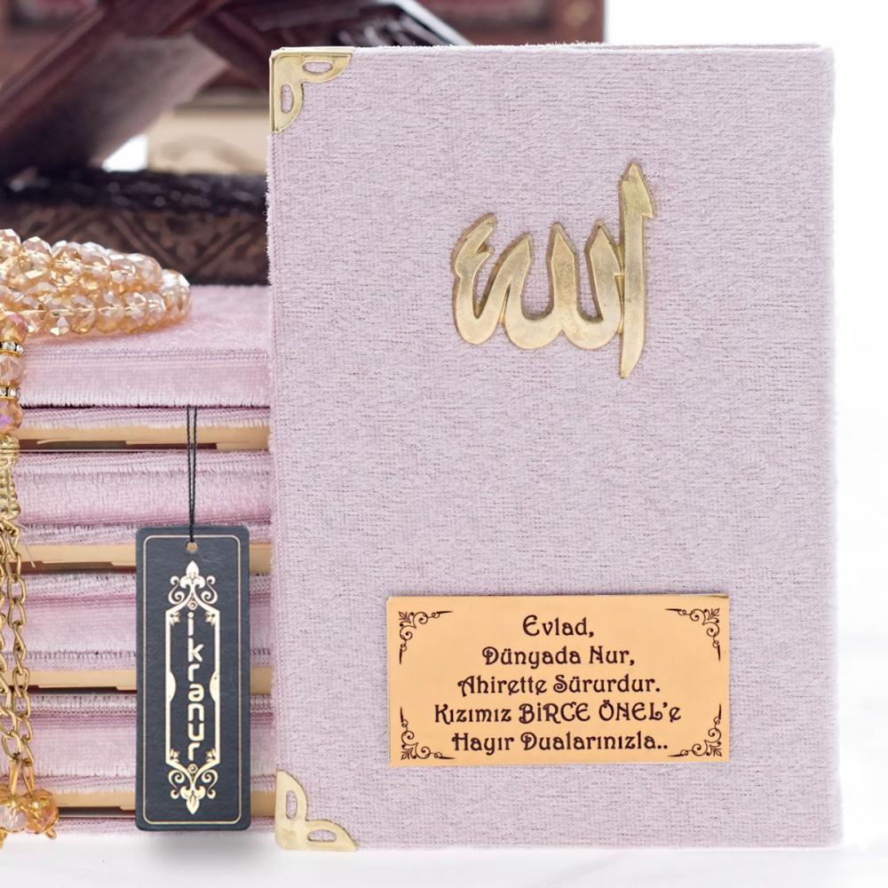Kadife Kaplı Yasin Kitabı Pembe (Allah Lafızlı ve İsim Baskılı)