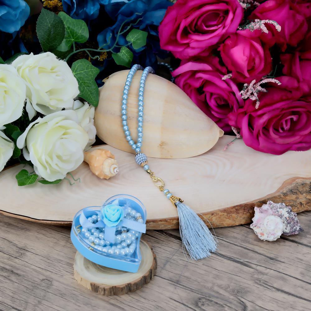 Kalpli Kutu Renkli Süslemeli İnci Tesbih Mavi