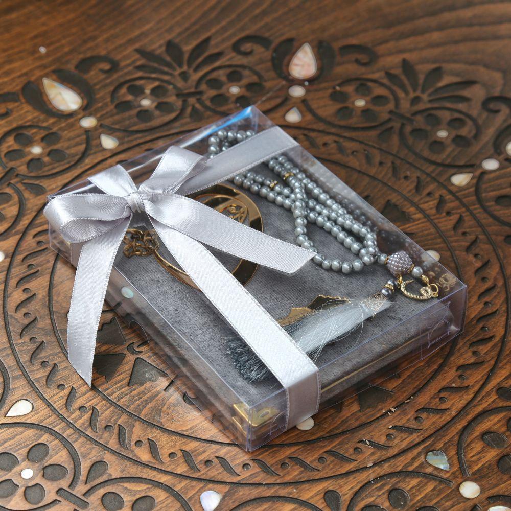 <span>Kadife Yasin Kitabı Asetat Kutuda Yasin İnci Tesbih - Gri</span>