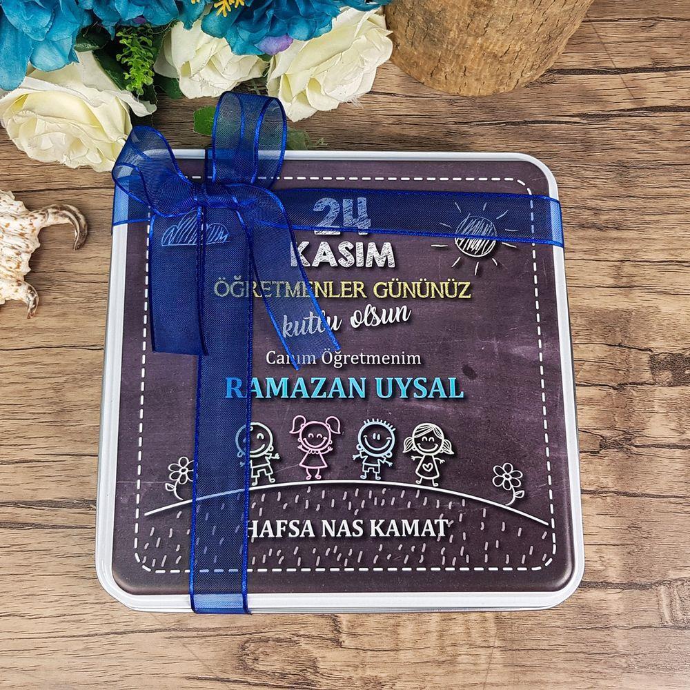 Öğretmenler Günü Çikolatası Metal Kutuda 32 Adet Madlen Çikolata