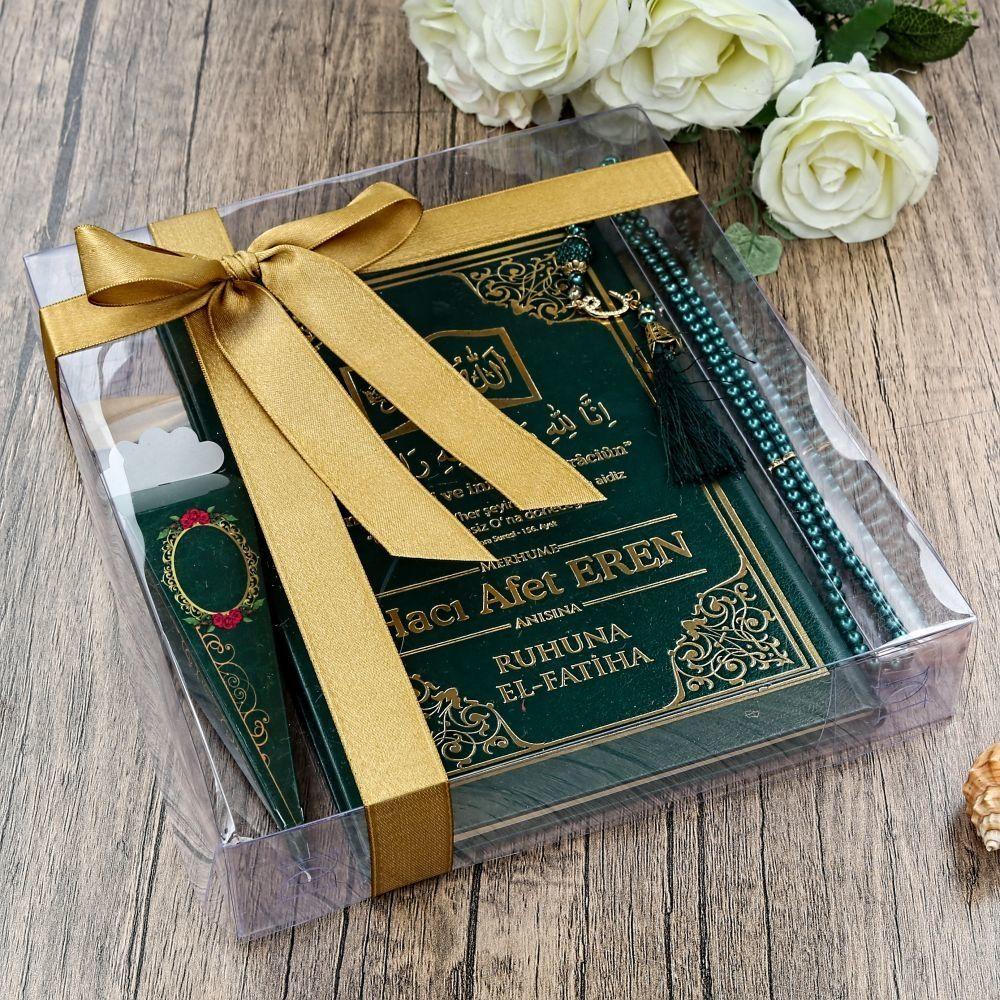 Orta Boy İsme Özel Ciltli Yasin Kitabı, İnci Tesbih, Mevlüt Şekeri, Asetat Kutuda 20 Adet