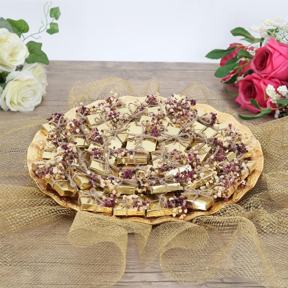 <span>Söz, Nişan Çikolatası Beyaz Gül Süslemeli 50 Çikolata 30 Draje</span>