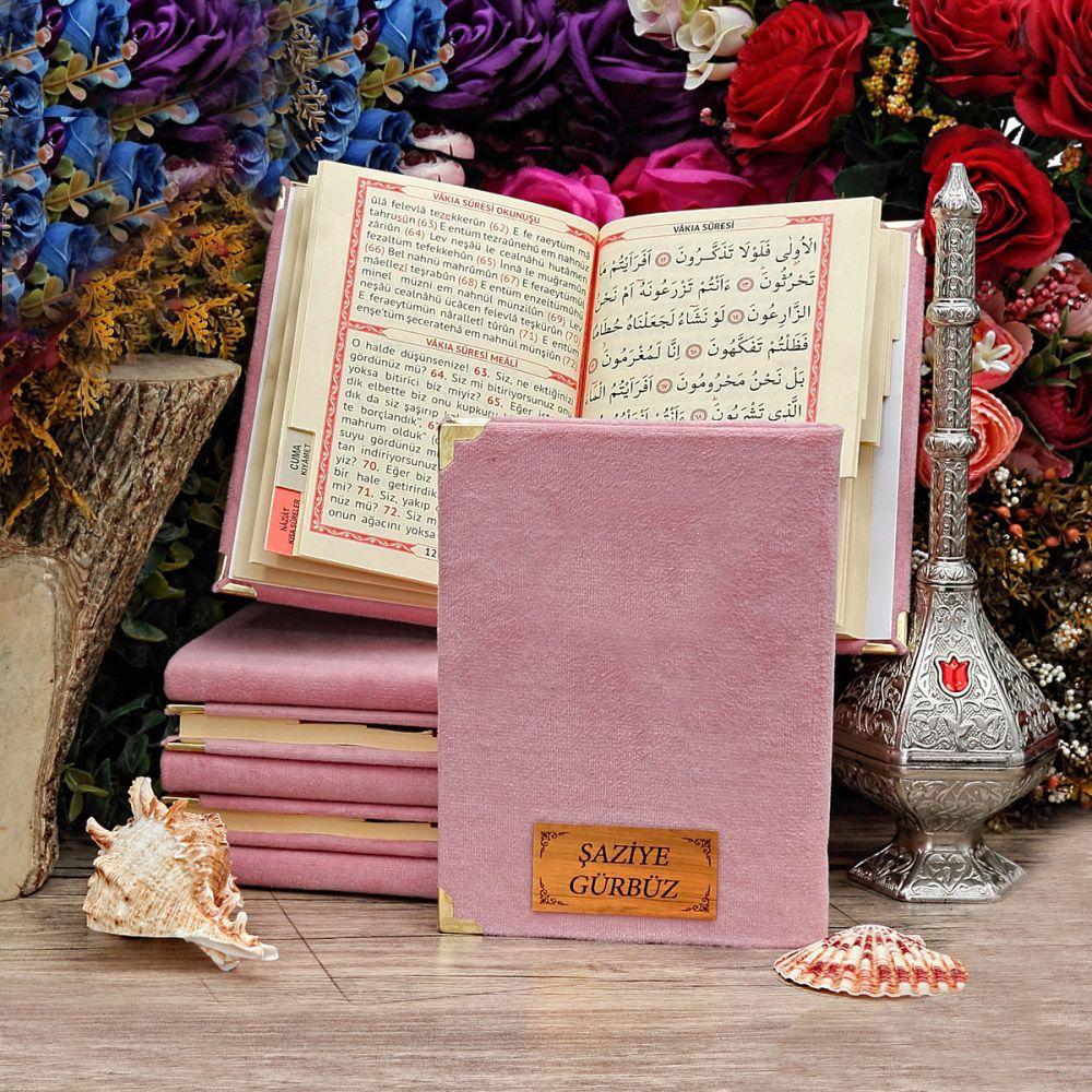 <span>Yasin Kitabı Kadife Kaplı 128 Sayfa, Çanta Boy İsim Baskılı Bebek Pembesi</span>